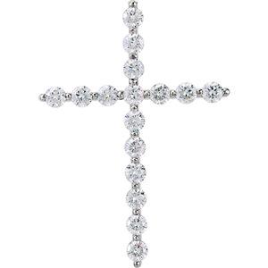 Pendant, Platinum 1 5/8 CTW Diamond Cross Pendant