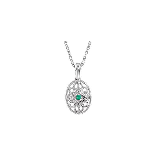 Sterling Silver Emerald 18