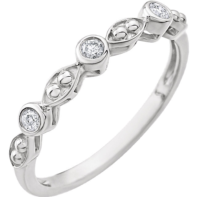 14K White .08 CTW Beaded Diamond Ring