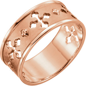 Religious Rings, 14K Rose Pierced Cross Ring