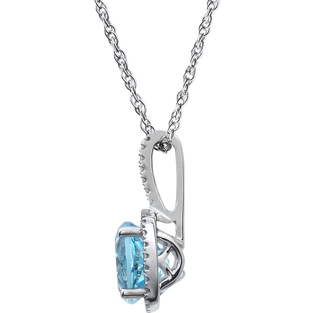Sterling Silver 7 mm Sky Blue Topaz & .015 CTW Diamond 18