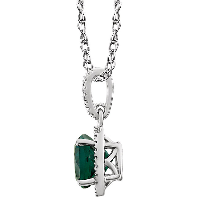 Sterling Silver Lab-Grown Emerald & .01 CTW Diamond 18