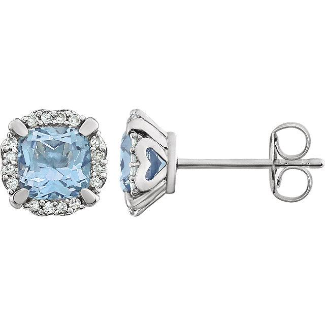 14K White Sky Blue Topaz & 1/10 CTW Diamond Earrings