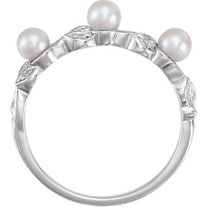 14K White Pearl & .03 CTW Diamond Stackable Leaf Pattern Ring