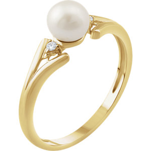 14K Yellow Freshwater Cultured Pearl & .03 CTW Diamond Ring