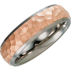 Titanium & Rose Immerse Plated 7mm Hammered Finish Beveled Edge Band Size 6