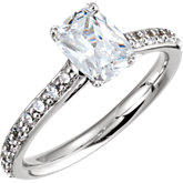 Cushion Accented Engagement Ring Mounting