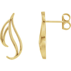Earrings , 14K White Freeform Earrings