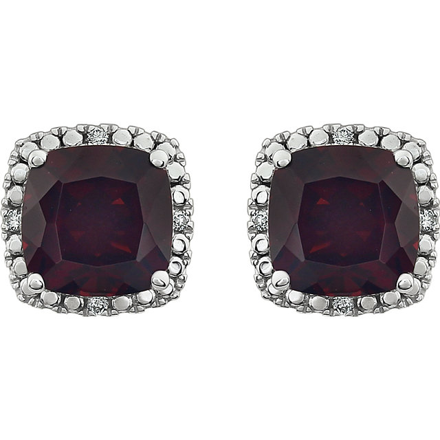14K White Mozambique Garnet & .06 CTW Diamond Earrings