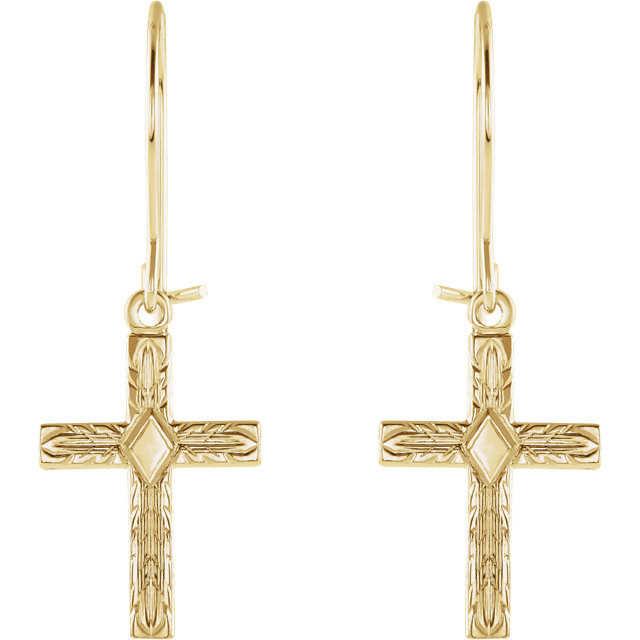 14K Yellow Cross Earrings
