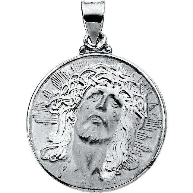 14K White 23mm Hollow Face of Jesus (Ecce Homo) Pendant