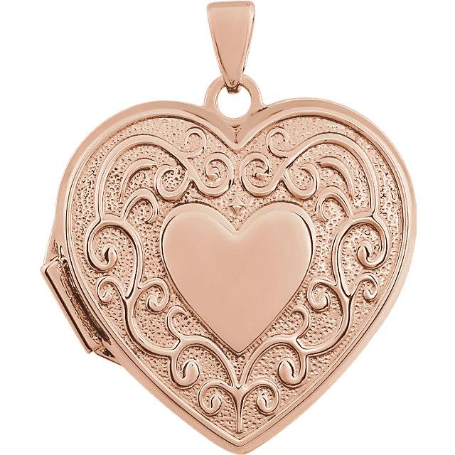 14K Rose Heart Shaped Locket