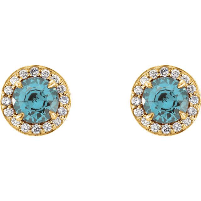Genuine Aquamarine 3.5 mm Round Aquamarine & 1/6 CTW Diamond Earrings