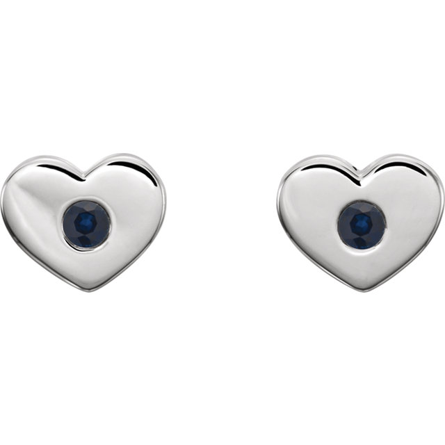 14K White Blue Sapphire Heart Earrings