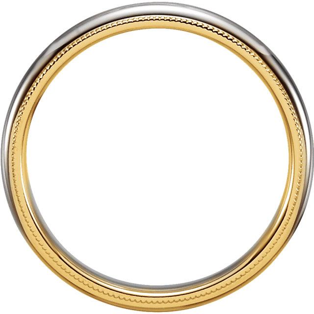 14K Yellow & White 3.5 mm Comfort-Fit Milgrain Band Size 5