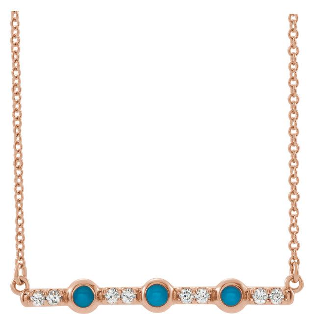 14K Rose Cabochon Turquoise & 1/8 CTW Diamond Bar 18
