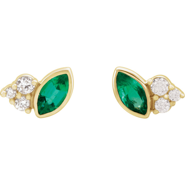 14K Yellow Emerald &  .05 CTW Diamond Earrings