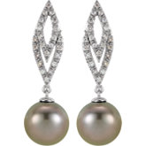 Tahitian Pearl & Diamond Earrings