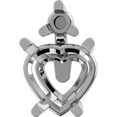 Heart 4-Prong Accented Setting for Earring Assembly