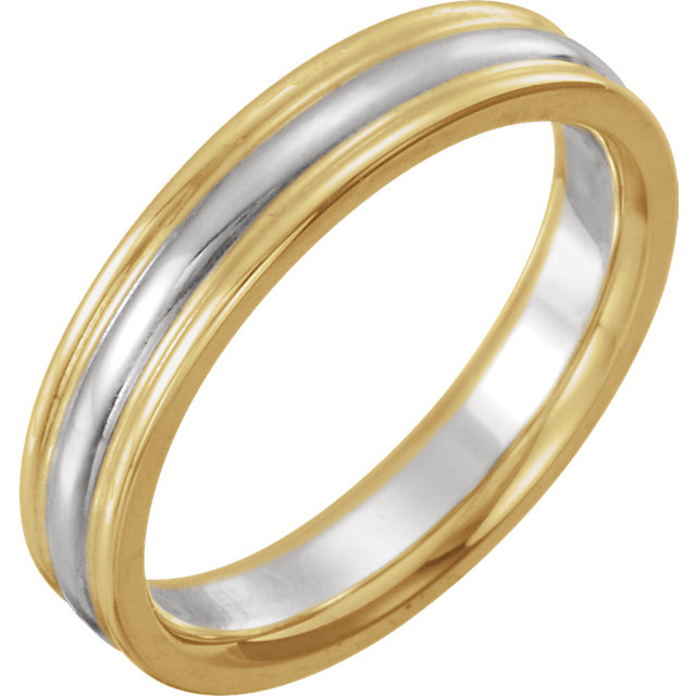 14K Yellow & White 4 mm Comfort-Fit Band Size 6.5