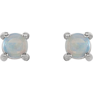 14K White 4mm Round Opal Cabochon Earrings