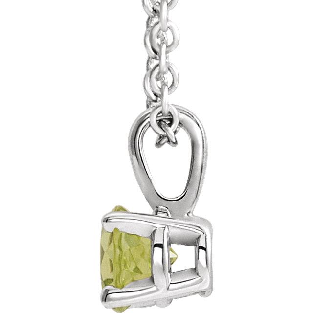 14K White 4 mm Peridot Birthstone Necklace