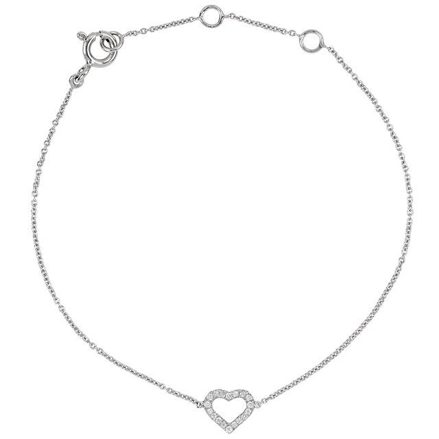 14K White .06 CTW Diamond Heart 7