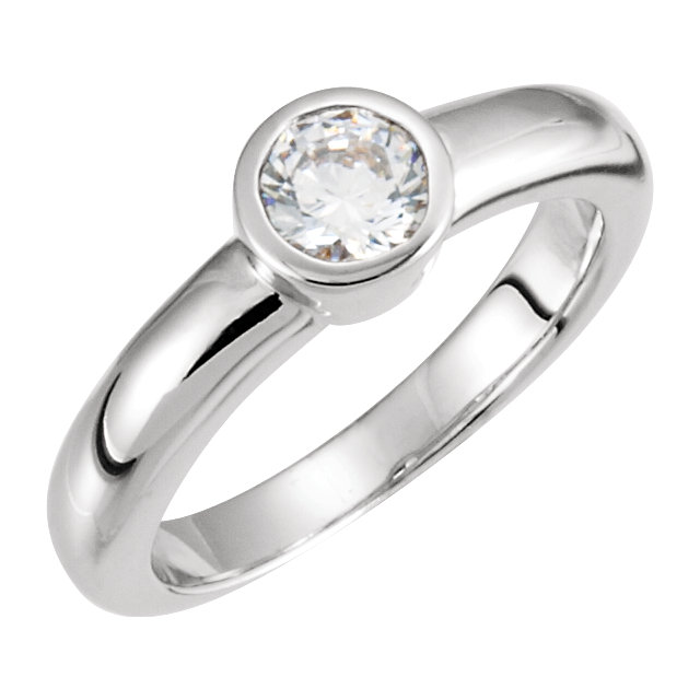 Continuum Sterling Silver Cubic Zirconia Bezel Set Engagement Ring