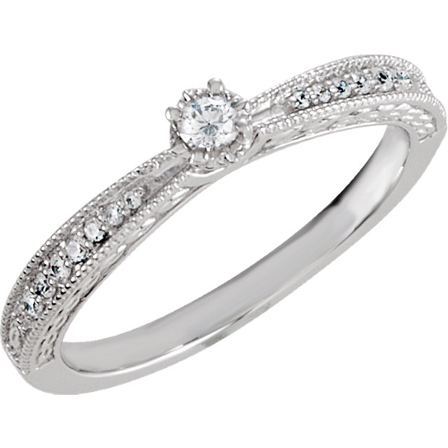 Sterling Silver Cubic Zirconia Vintage-Inspired Milgrain Ring Size 6