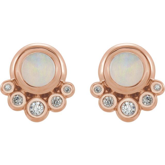 14K Rose Opal & 1/8 CTW Diamond Earrings