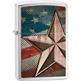 Zippo® Retro Star Brushed Chrome Lighter