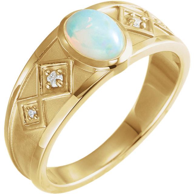 14K White Onyx & .05 CTW Diamond Ring