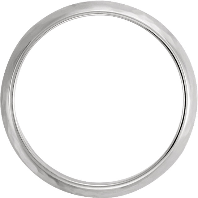 14K White 6mm Half Round Hammer Finish Band Size 9