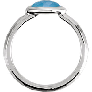 Sterling Silver 7x5x4mm Blue Chalcedony Ring Size 7