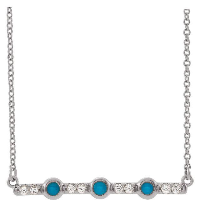 14K White Cabochon Turquoise & 1/8 CTW Diamond Bar 16
