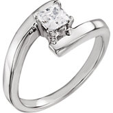 4-Prong V-End Solitaire Engagement Ring
