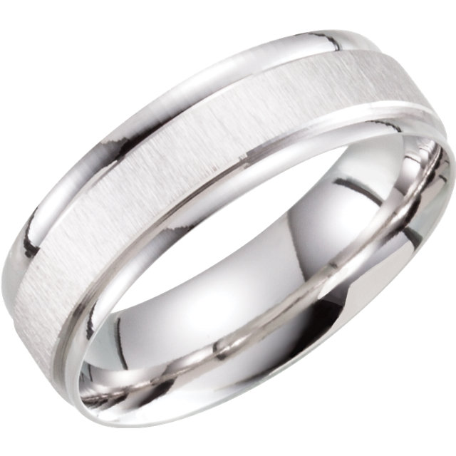10K White 6 mm Lightweight Patterned Band Size 10