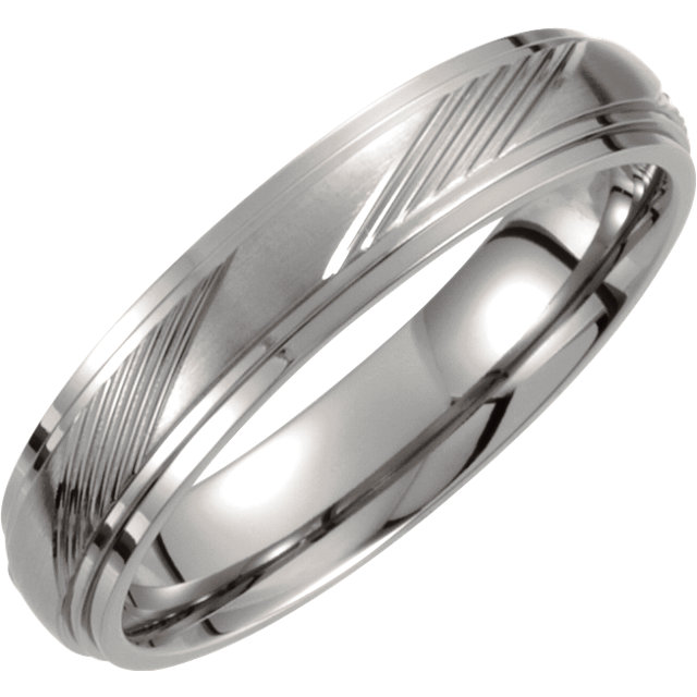 Titanium 5mm Ridged Band Size 6