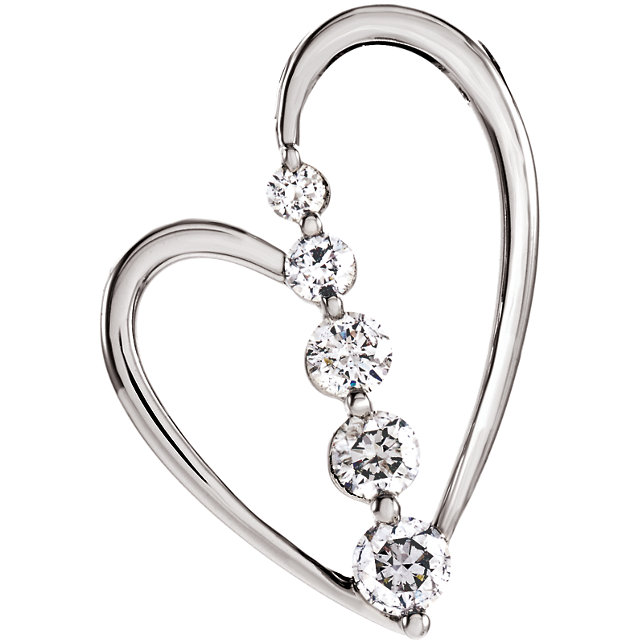 14K White 1/2 CTW Diamond Journey Heart Pendant
