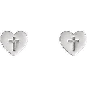 14K White Heart & Cross Earrings