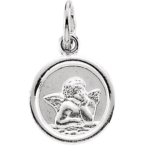 Sterling Silver 12mm Round Angel Medal