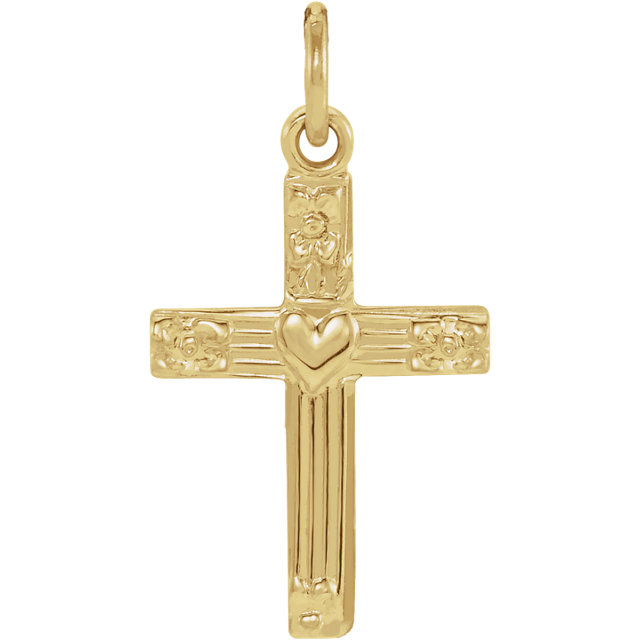 14K Yellow Cross Pendant with Heart