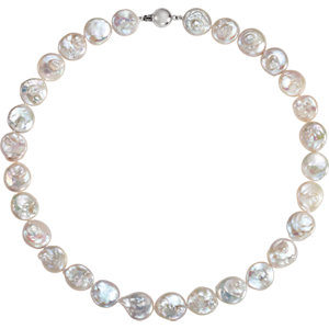 Sterling Silver Freshwater Cultured Coin Pearl 18
