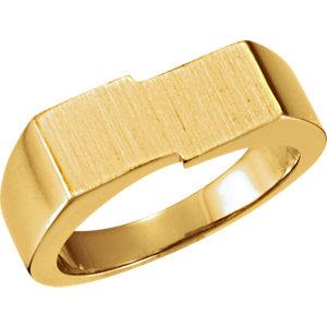 Fashion Rings , 18K X1 White 9x16mm Men's Signet Ring