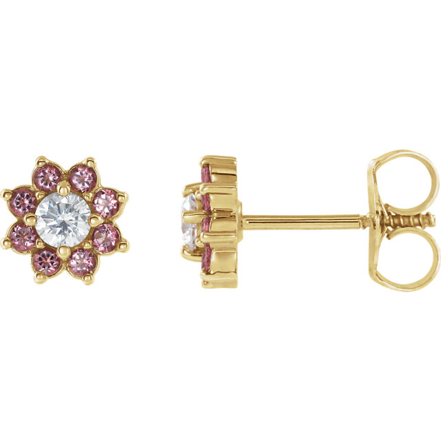 14K Yellow Baby Pink Topaz & Cubic Zirconia Earrings