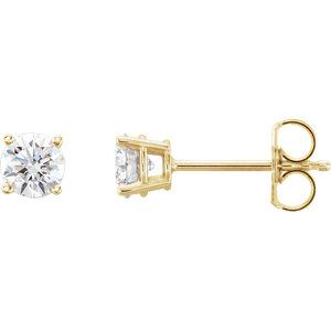Earrings , 14K Yellow 3/4 CTW Lab-Grown Diamond Stud Earrings