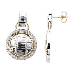 Earrings , Sterling Silver & 14K Yellow 1/2 CTW Diamond Earrings