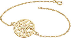14K Yellow 20mm 3-Letter Script Monogram Bracelet