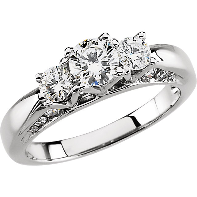 14K White 1 1/5 CTW Diamond Engagement Ring