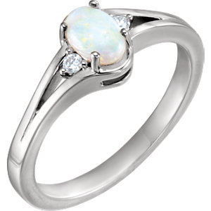Fashion Rings , Platinum Opal & .04 CTW Diamond Ring